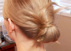 Messy Knot - Blonde, Updos, Wedding hairstyles, Styles, Female, Adult hair, Straight hair, Prom hairstyles, Formal hairstyles, Homecoming hairstyles, Knots, Buns hairstyle picture