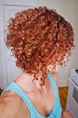 Stacked spiral curls (My favorite haircut!) - Redhead, Short hair styles, Medium hair styles, Female, Curly hair, Adult hair, Spiral curls hairstyle picture