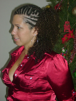 Braided Me side veiw  - Brunette, 3b, 3c, Updos, Long hair styles, Braids, Readers, Special occasion, Female, Curly hair, Holiday Party Curls, Adult hair, Formal hairstyles, Cornrows, Ponytail hairstyle picture