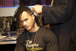 Man with Locs Styled at Curly Pool Party - Male, Medium hair styles, Kinky hair, Black hair, Adult hair, Dreadlocks, Textured Tales from the Street hairstyle picture