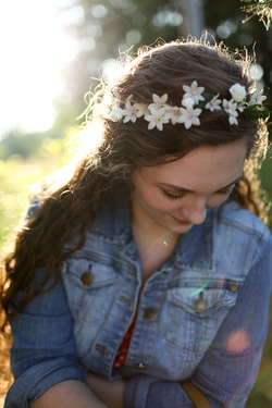Long and curly with flower crown - Brunette, Blonde, 3a, 3c, Long hair styles, Curly hair, Adult hair hairstyle picture