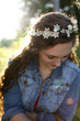long and curly with flower crown -