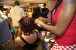 locs styled during the curly pool party - Medium hair styles