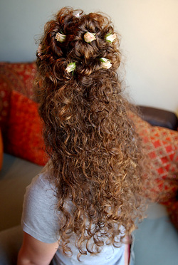 Creative Curly Half Up Half Down Look - Updos, Long hair styles, Female, Curly hair hairstyle picture
