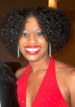 The Lady in Red - Brunette, Medium hair styles, Kinky hair, Twist hairstyles, Readers, Special occasion, Female, Black hair, Holiday Party Curls, Adult hair, Formal hairstyles hairstyle picture