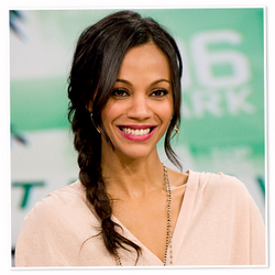 Zoe Saldana  - Celebrities, Wavy hair, Long hair styles, Braids, Female, Black hair, Pigtails, Curly kinky hair hairstyle picture