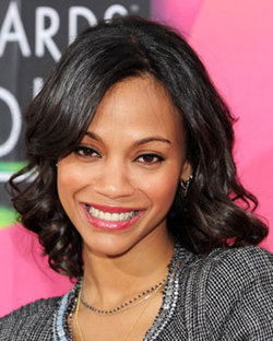 Zoe Saldana - Celebrities, Kinky hair, Long hair styles, Female, Black hair, Pin curls, Curly kinky hair hairstyle picture