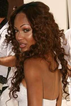 Meagan Good - Brunette, Celebrities, Kinky hair, Long hair styles, Hair extensions, Spiral curls hairstyle picture