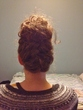 french braid 43 bun - wavy hair