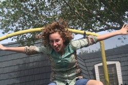 a picture by my kid brother of me on the trampoline...  - Brunette, Readers, Crazy Curls Contest, Female, Curly hair hairstyle picture