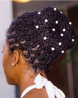 Two-Strant Twist Bun - Kinky hair, Long hair styles, Twist hairstyles, Wedding hairstyles, Styles, Female, Black hair, Adult hair, Buns hairstyle picture