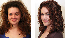 Cathy, before and after - Brunette, 3a, Medium hair styles, Fall hair, Female, Curly hair, Makeovers hairstyle picture