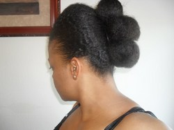 3 Bun Banana Clip Updo - Brunette, 4a, 4b, Updos, Kinky hair, Wedding hairstyles, Readers, Styles, Female, Black hair, Prom hairstyles, Formal hairstyles, Homecoming hairstyles, Buns, Mohawk hairstyle picture