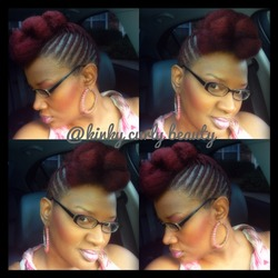My Red Cornrow Pinup and Pompadour  - Redhead, Braids, Readers, Female, Makeovers, Buns hairstyle picture