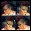 my red cornrow pinup and pompadour - Braids