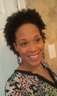 Twist Out on wet curly hair w/Headband &amp; Flower - Brunette, 3b, 3a, 3c, 4a, 4b, Mature hair, Short hair styles, Kids hair, Kinky hair, Afro, Wedding hairstyles, Female, Curly hair, Teen hair, Adult hair, Prom hairstyles, Homecoming hairstyles, Twist out, Coil out, Curly kinky hair hairstyle picture