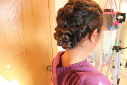 Disappearing Braid with Twists - Brunette, 3a, Updos, Long hair styles, Twist hairstyles, Braids, Wedding hairstyles, Readers, Female, Teen hair, Adult hair, Prom hairstyles, Formal hairstyles, Homecoming hairstyles, French braids hairstyle picture