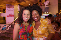 Michelle and Cassadie pose together for a photo at the Curly Pool Party - Brunette, 3b, Medium hair styles, Kinky hair, Female, Curly hair, Black hair, Adult hair, Textured Tales from the Street hairstyle picture