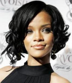 Rihanna - Celebrities, Short hair styles, Female, Curly hair, Black hair, Adult hair, Bob hairstyles hairstyle picture