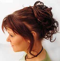 Curly Extensions - Redhead, Wavy hair, Updos, Wedding hairstyles, Styles, Female, Adult hair, Prom hairstyles, Formal hairstyles, Homecoming hairstyles, Knots, Buns, Hair extensions hairstyle picture