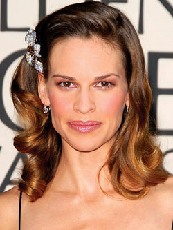 Hilary Swank - Brunette, Celebrities, Medium hair styles, Female, Pin curls hairstyle picture
