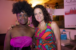 This Natural Rocks an Awesome Updo while Posing with Founder Michelle - Brunette, 3b, 4b, Medium hair styles, Updos, Kinky hair, Female, Curly hair, Black hair, Adult hair, Textured Tales from the Street, 4c hairstyle picture