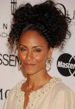 Jada Pinkett Smith - Brunette, Celebrities, Updos, Braids, Female, Curly hair, Adult hair hairstyle picture