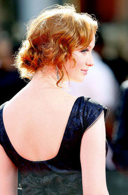 Christina Hendricks - Redhead, Celebrities, Updos, Special occasion, Female, Curly hair, 2009 Emmy Awards hairstyle picture