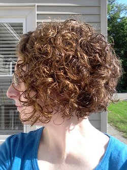 Curly Angled Bob - Redhead, Brunette, 3b, 3a, Short hair styles, Female, Curly hair, Adult hair hairstyle picture