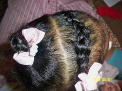 Braid & a Pony - 3b, 3c, Medium hair styles, Kids hair, Updos, Braids, Readers, Female, Curly hair, Black hair, Ponytail hairstyle picture