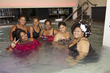 naturals in the pool at the curly pool party - Kinky hair