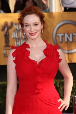 Christina Hendricks  - Redhead, 3a, Celebrities, Medium hair styles, Updos, Female hairstyle picture