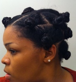 Bantu Knot - 3c, Medium hair styles, Long hair styles, Female, Curly hair, Black hair, Adult hair, Bantu knots hairstyle picture