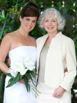 Wedding hairstyles for the bride and her mom - Brunette, 3a, Mature hair, Short hair styles, Medium hair styles, Updos, Wedding hairstyles, Styles, Female, Gray hair, Adult hair, Straight hair, Formal hairstyles hairstyle picture