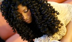 "No-Heat ""Wand-Like"" Curls & Waves - Brunette, 3c, Long hair styles, Female, Makeovers, Adult hair, Spiral curls, Curly kinky hair hairstyle picture"
