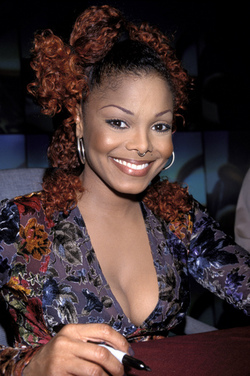 Janet Jackson - Redhead, Celebrities, Updos, Female, Curly kinky hair hairstyle picture