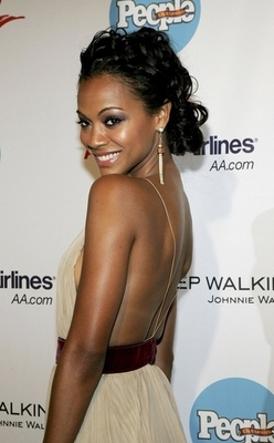Zoe Saldana - Celebrities, Medium hair styles, Updos, Female, Black hair, Spiral curls, Curly kinky hair hairstyle picture