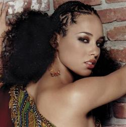 Alicia Keys - 4a, Celebrities, Kinky hair, Long hair styles, Afro, Styles, Female, Black hair, Adult hair, Cornrows hairstyle picture