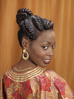 Goddess Braids - Updos, Wedding hairstyles, Styles, Female, Black hair, Adult hair, Prom hairstyles, Formal hairstyles, Homecoming hairstyles, Goddess braids hairstyle picture