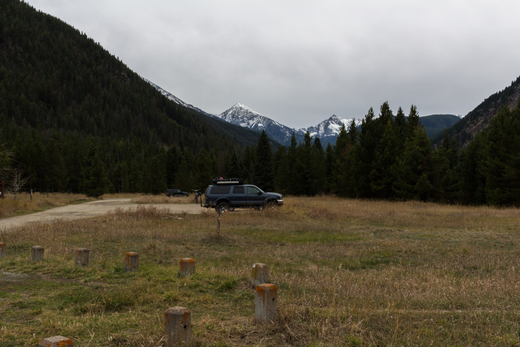 The view down the Spanish Creek drainage from the parking lot. Blaze Mountain in the center.