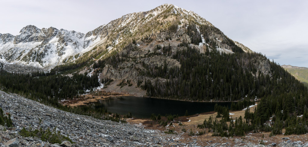 Full panorama of the basin. Blaze Mountain is adjacent to Mirror although I believe that's a false summit.