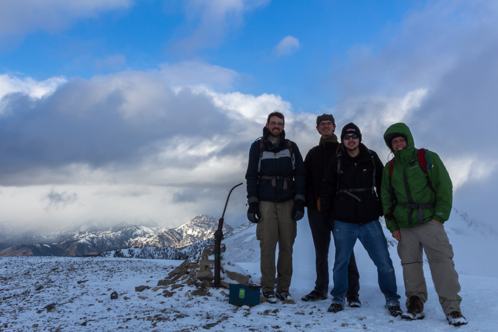Group picture at the summit. From left to right: Arlo, Christian, Forrest, Aaron (Me).