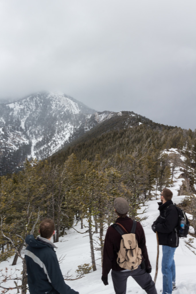 The frightful view of Baldy from the Knob. The summit is masked by clouds.