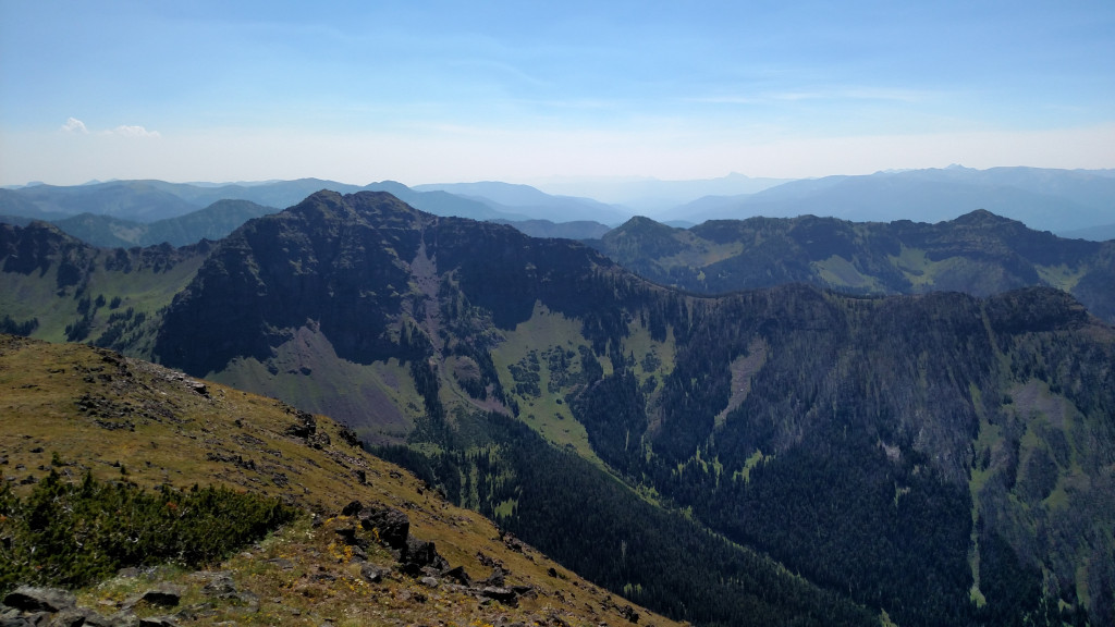 Looking south at the Gallatin Range from the summit. Alex Lowe Peak on the left.