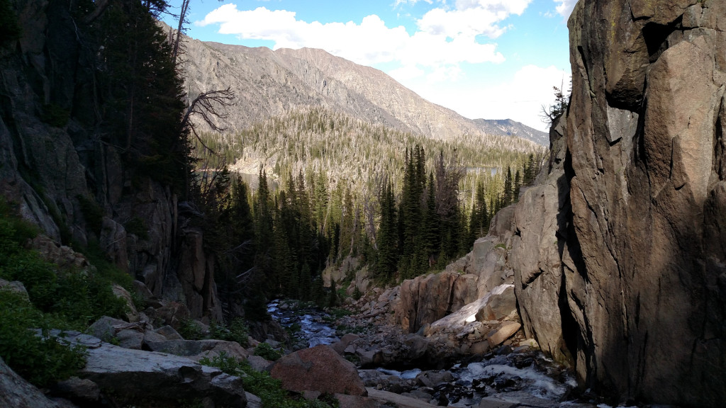 View looking down the gorge. Granite Lake is to the left and Blue Lake to the right.