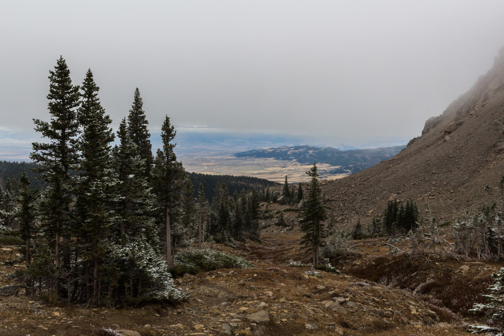 Looking down the Sacajawea drainage. Clearly much of the fog had lifted by now.