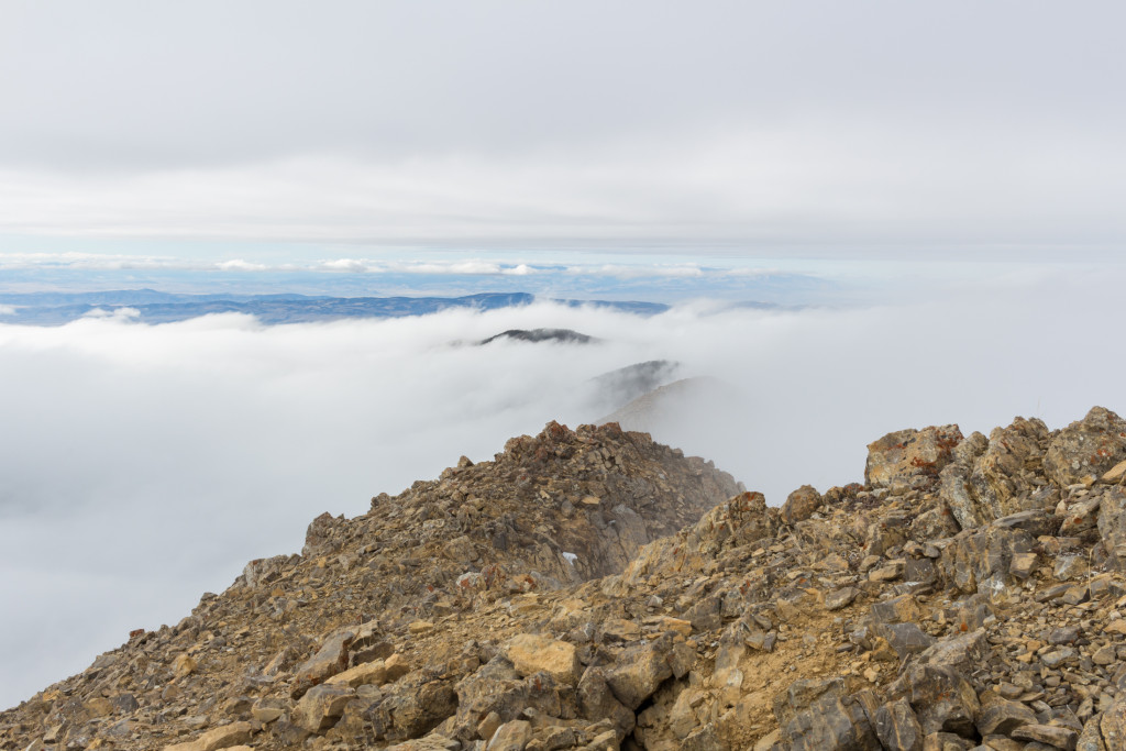 Looking north from the summit of Hardscrabble. Everything is immersed in clouds.