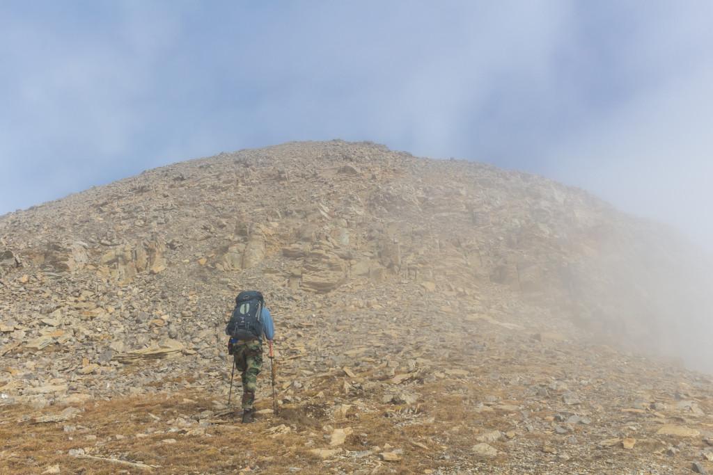 The final ascent up Pomp Peak.