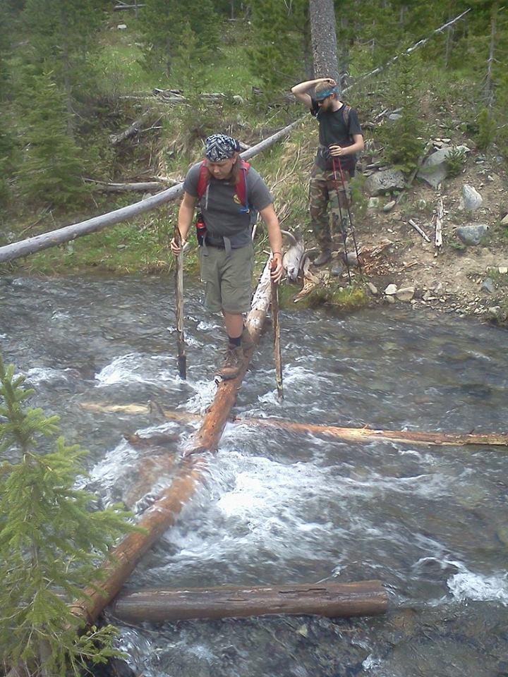 Me crossing the log bridge.