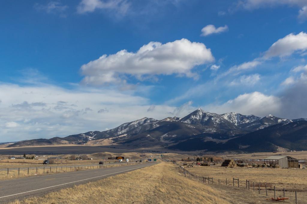 View of Livingston Peak from I-90. Taken February 2016.